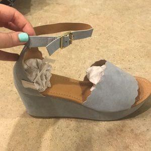 Light blue suede platform sandals